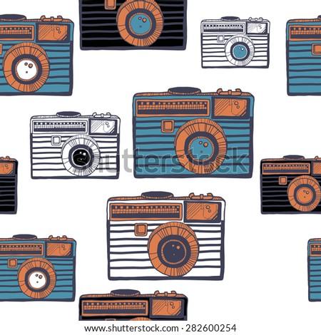 Vintage camera vector pattern