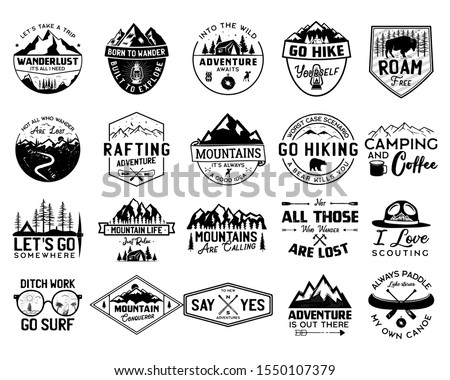 Vintage camp logo bundle, mountain badges set. Hand drawn labels designs. Travel expedition, canoe, wanderlust and hiking. Outdoor emblems. Logotypes collection. Stock vector isolated on white ストックフォト ©