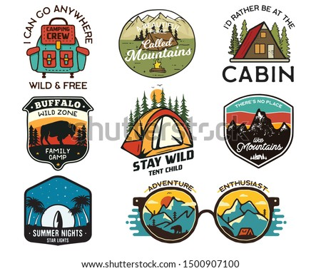 Vintage camp logos, mountain badges set. Hand drawn labels designs. Travel expedition, backpacking, surfing. Outdoor hiking emblems. Logotypes collection. Stock vector isolated on white.