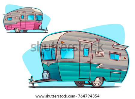 Stock Vector Vintage Camper Cartoon Illustration 764794354
