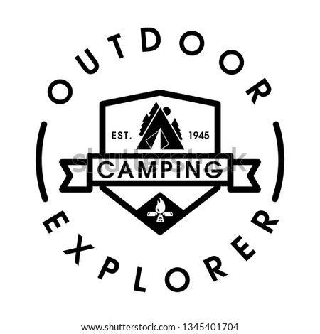 Vintage camping and outdoor adventure emblems, logos and badges. Camp tent in forest or mountains. Camping equipment. Vintage camping and outdoor adventure logo design template