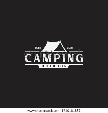 Vintage camping and outdoor adventure emblems, logos and badges. Camp tent in forest or mountains. Camping equipment. Vector.