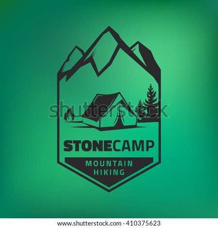 Vintage camping and outdoor adventure logo on green background. Tent in forest. Camping equipment. Vector.