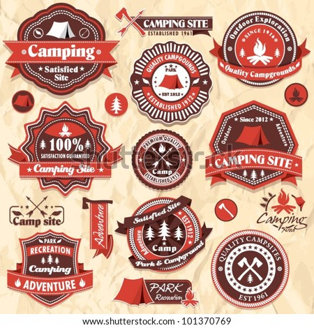 vintage camping labels set
