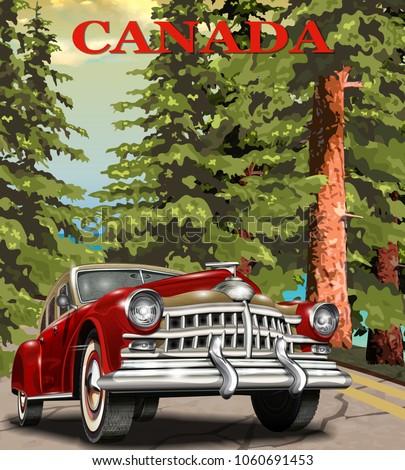 Vintage Canada retro car poster.