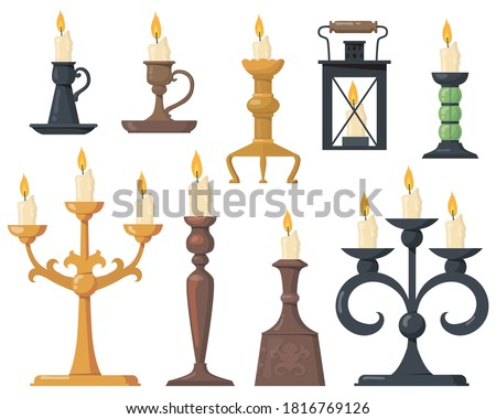 Vintage candles in candlesticks flat icon set. Cartoon elegant Victorian candelabras and retro holders for candles isolated vector illustration collection. Design elements and decoration concept Stockfoto ©