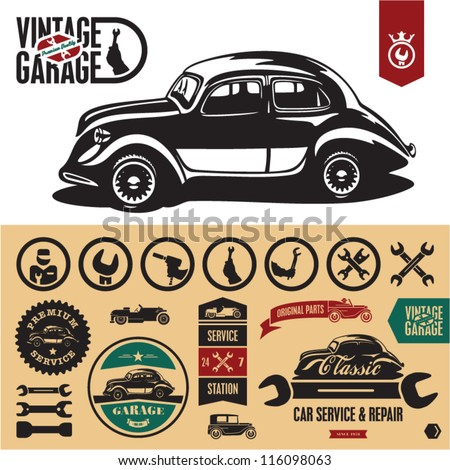Vintage car garage labels and badges collection. Car service icons set.