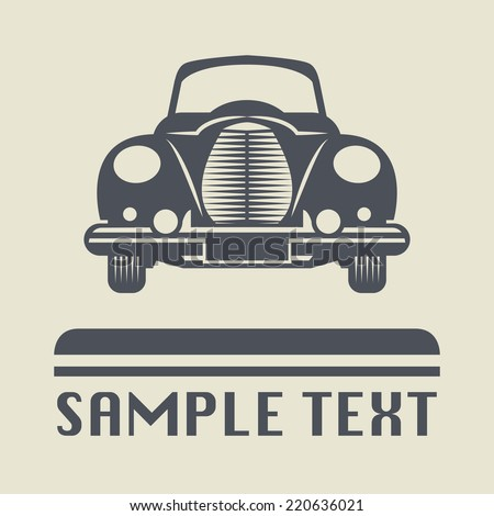 vintage car icon or sign ...