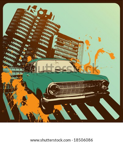 vintage car in front of an