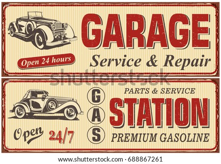 Vintage Car Metal Sign CollectionGarageGas Station Retro Poster