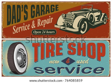 Vintage car metal sign collection.Garage,Tire Service retro poster.