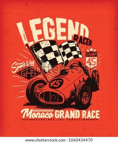 vintage car race. tee print design