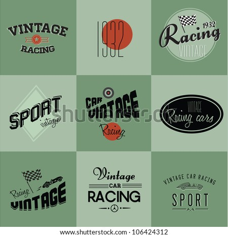 Vintage car racing badges