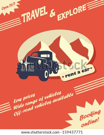 Vintage car rental flyer or leaflet design with space for text