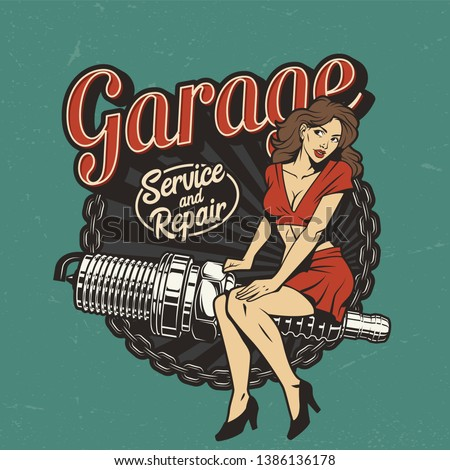 Vintage car repair service colorful label with pinup pretty woman sitting on spark plug isolated vector illustration Stock fotó ©