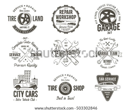 Vintage car service badges, garage repair labels and insignias collection. Retro colors design. Good for repair workshop, classic cars auctions, clubs, tee shirt. Vector monochrome isolated.