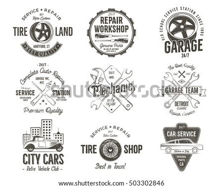 vintage car service badges
