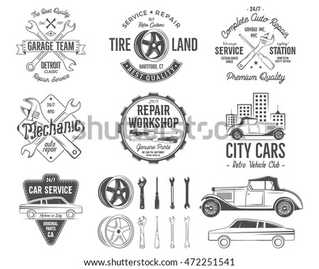 Vintage car service badges, garage repair retro labels and insignias collection. Included tire service icons and design elements. For repair workshop, classic cars auctions, clubs, tee shirt. Vector.