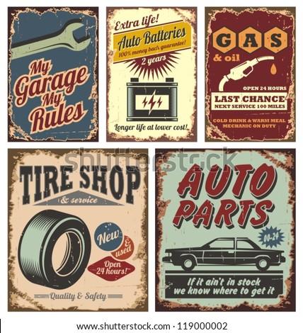 vintage car service metal signs ...