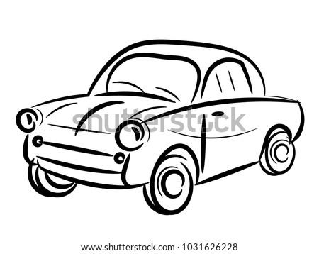 Vintage car stylized isolated on white
