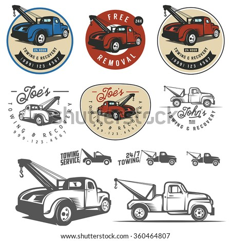 vintage car tow truck emblems ...