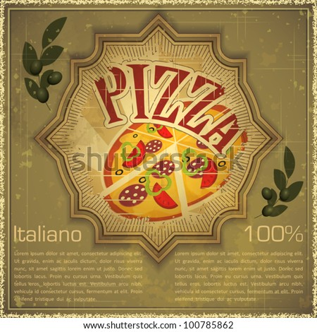 Vintage card - Cover menu - Pizza on grunge Background, Vintage style - vector illustration