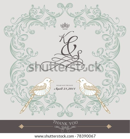 vintage card design- best for wedding invitation-birthday and more