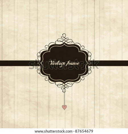 Vintage card design with frame and heart