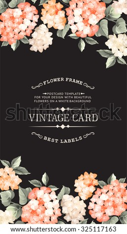 Vintage card for Wedding invitation template. Black background ...