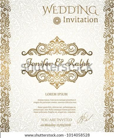 Vintage card, Invitation, Wedding template. Vignette background. Golden design. Vintage frame design