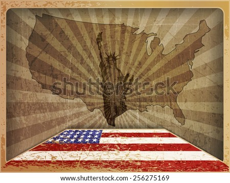 vintage card  map and flag of