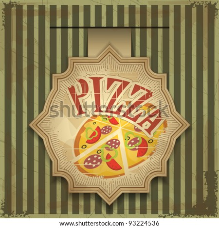 Vintage card menu - pizza label