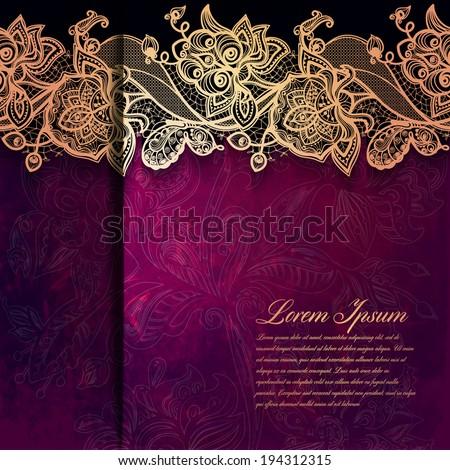 Vintage card on grunge background.Template frame design for card Vintage Lace Doily