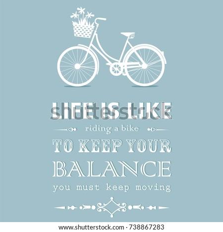 Vintage card with a bike on blue background. Vector illustration.