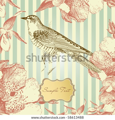 stock vector : vintage card with a bird