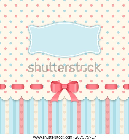 Vintage card with bow on polka dots background