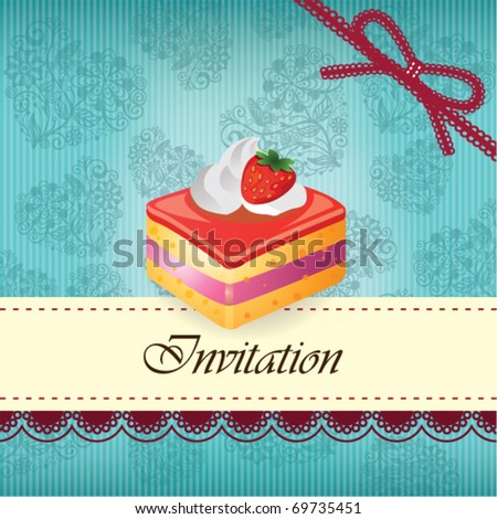 Vintage card with cake