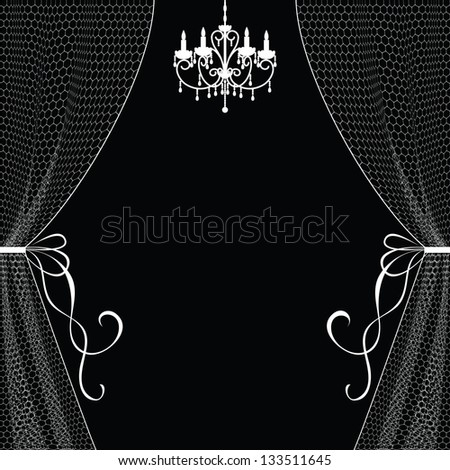 Chandelier Curtains: Vintage card with chandelier and curtains,Lighting