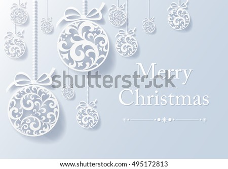 Vintage card with Christmas balls. vector