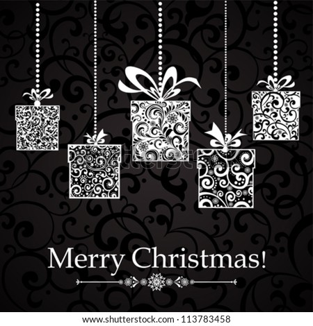 Vintage card with Christmas gifts. vector illustration