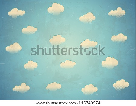 vintage card with clouds