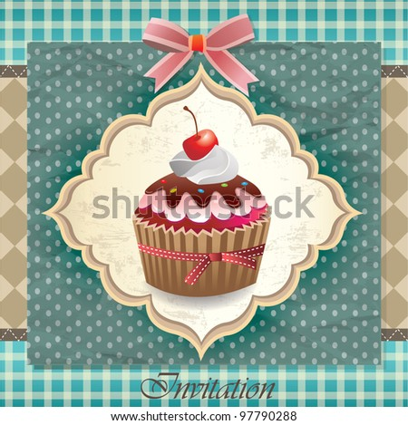 Vintage card with cupcake 09