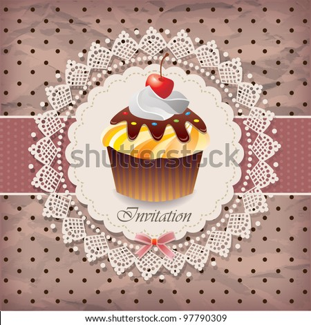 Vintage card with cupcake 08