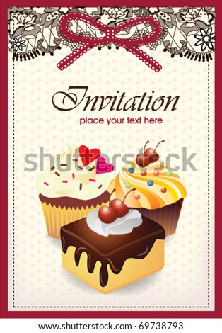 Vintage card with cupcake & cake