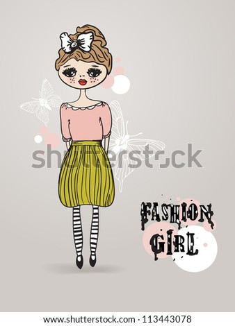 Vintage card with cute hand drawn  girl on pastel background
