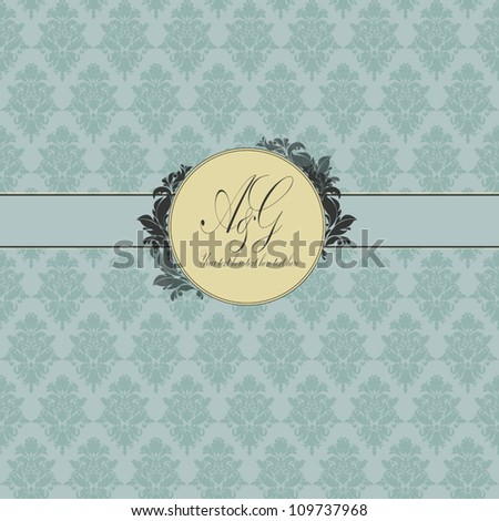 Vintage card with damask background. Greeting card. Menu design. Birthday card. Seamless damask background