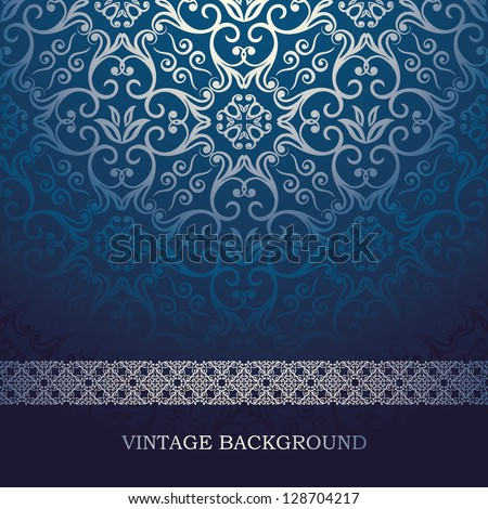 ShutterStock Vintage Card With Damask Background Luxury Blue Design