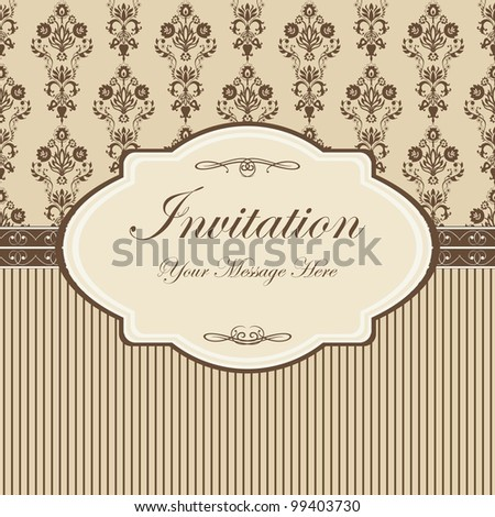 vintage card with damask wallpaper