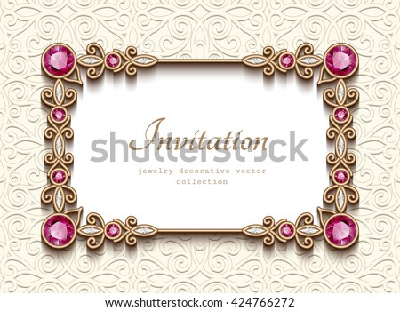 Vintage card with diamond jewelry decoration, gold rectangle frame, elegant wedding invitation or announcement template, vector illustration