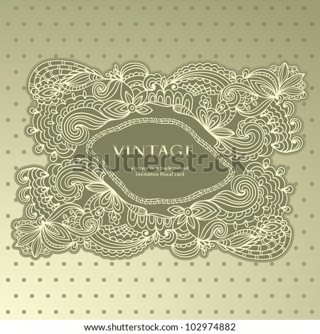 Vintage Card With Elegant Lace Floral Hand-drawn Frame